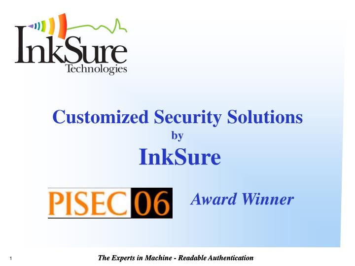 Customized security solutions by inksure