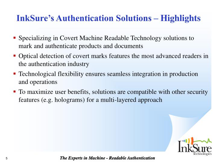 InkSure's Authentication Solutions – Highlights