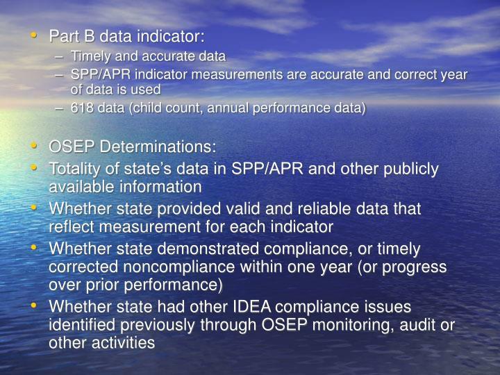 Part B data indicator: