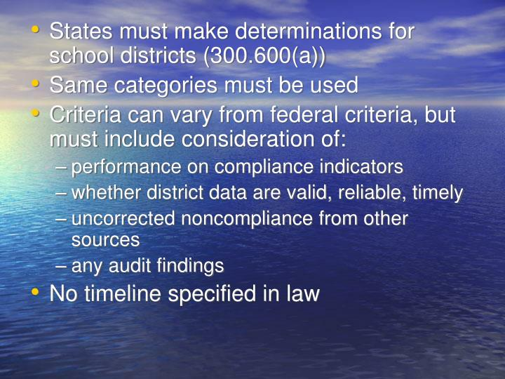 States must make determinations for school districts (300.600(a))