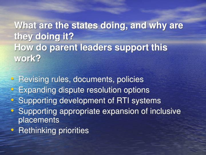 What are the states doing and why are they doing it how do parent leaders support this work