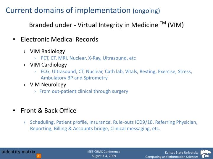 Current domains of implementation
