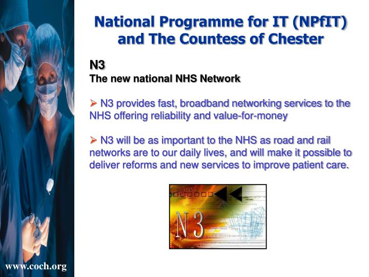 National Programme for IT (NPfIT) and The Countess of Chester