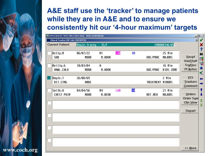 A&E staff use the 'tracker' to manage patients