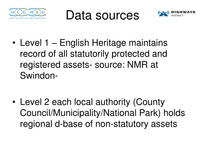 Level 1 – English Heritage maintains record of all statutorily protected and registered assets- source: NMR at Swindon-