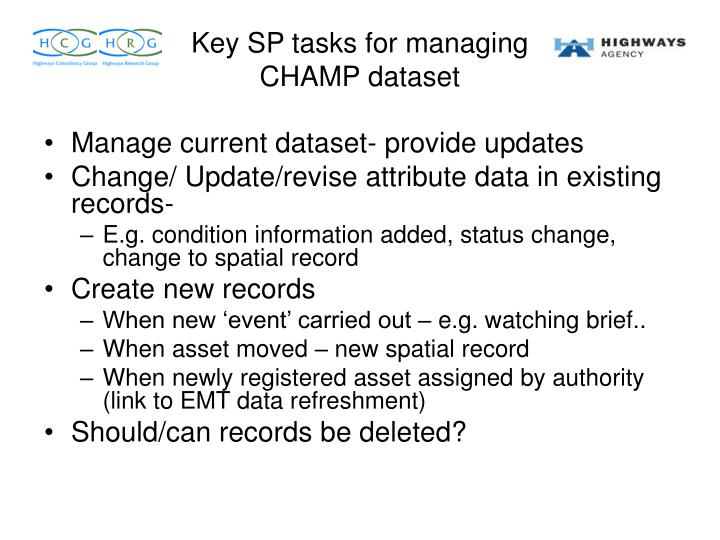 Manage current dataset- provide updates