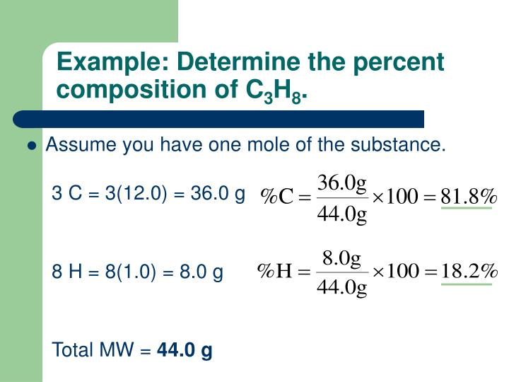 Example determine the percent composition of c 3 h 8