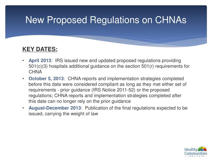 New proposed regulations on chnas