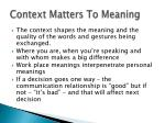 context matters to meaning