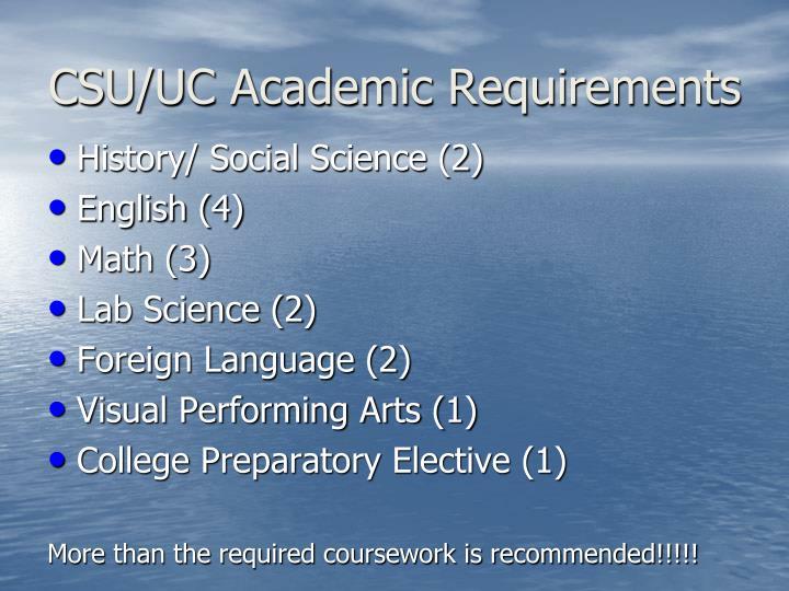 CSU/UC Academic Requirements