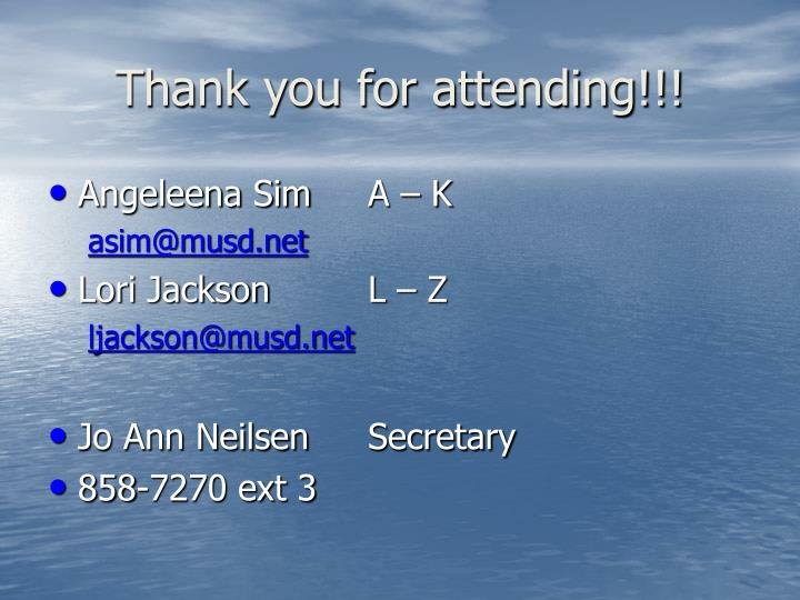 Thank you for attending!!!