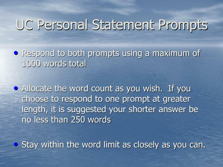 UC Personal Statement Prompts