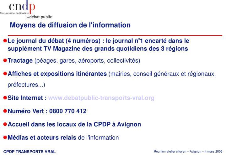 Moyens de diffusion de l'information