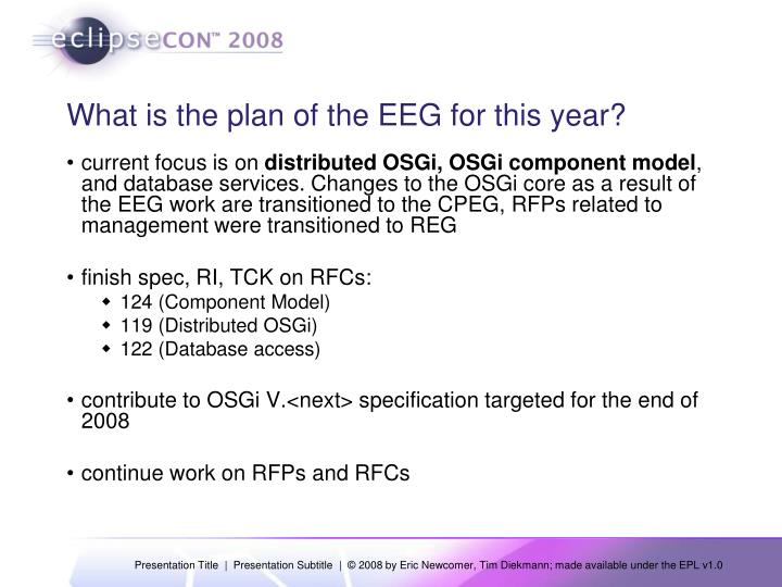 What is the plan of the EEG for this year?