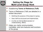 setting the stage for multi level group work