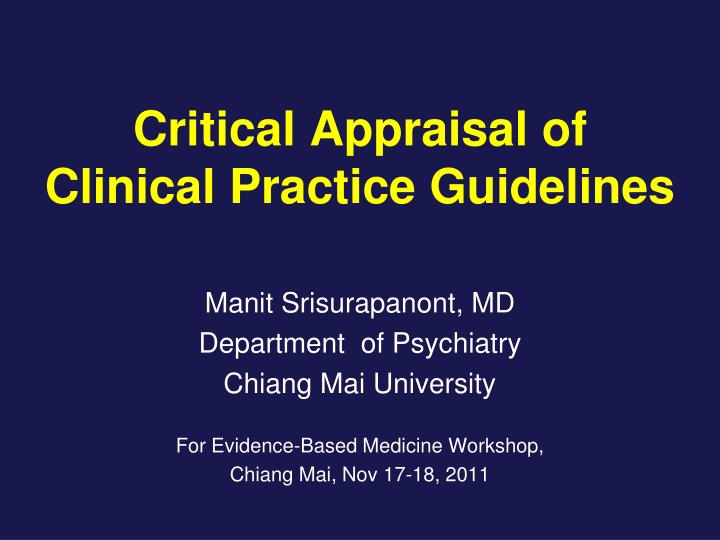 critical appraisal of clinical practice guidelines n.