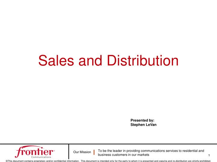 sales and distribution n.