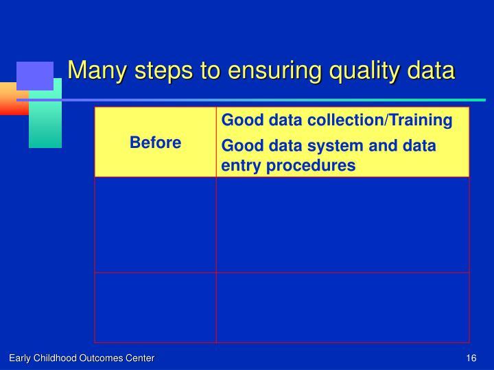 Many steps to ensuring quality data