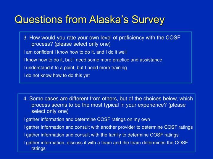 Questions from Alaska's Survey