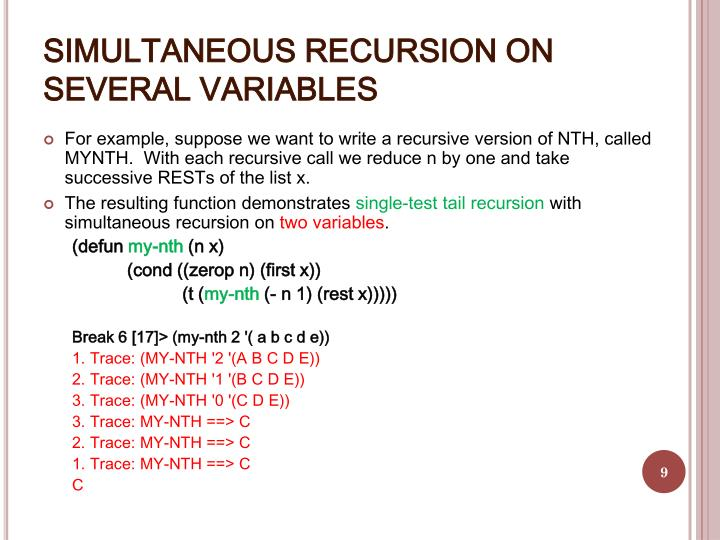 SIMULTANEOUS RECURSION ON SEVERAL VARIABLES