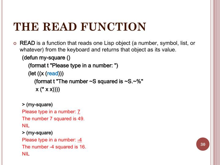 THE READ FUNCTION
