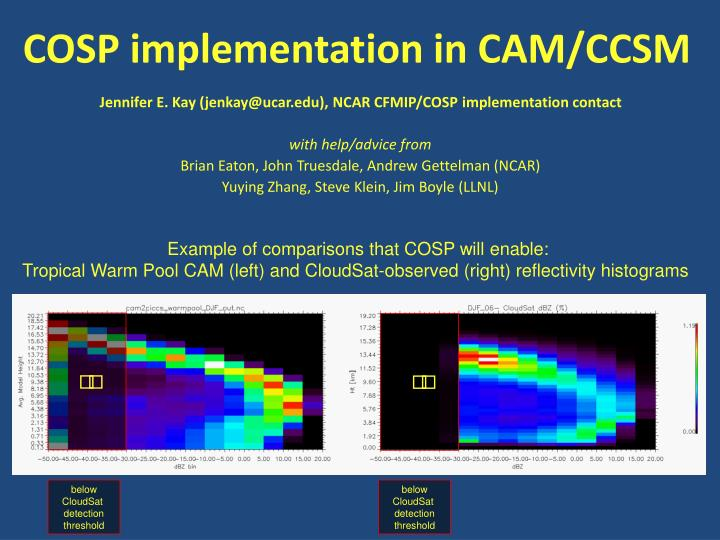 cosp implementation in cam ccsm n.