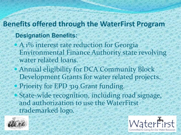 Benefits offered through the WaterFirst Program