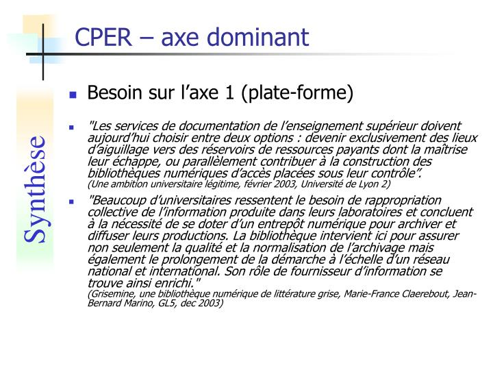 CPER – axe dominant