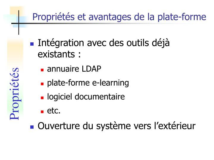 Propriétés et avantages de la plate-forme