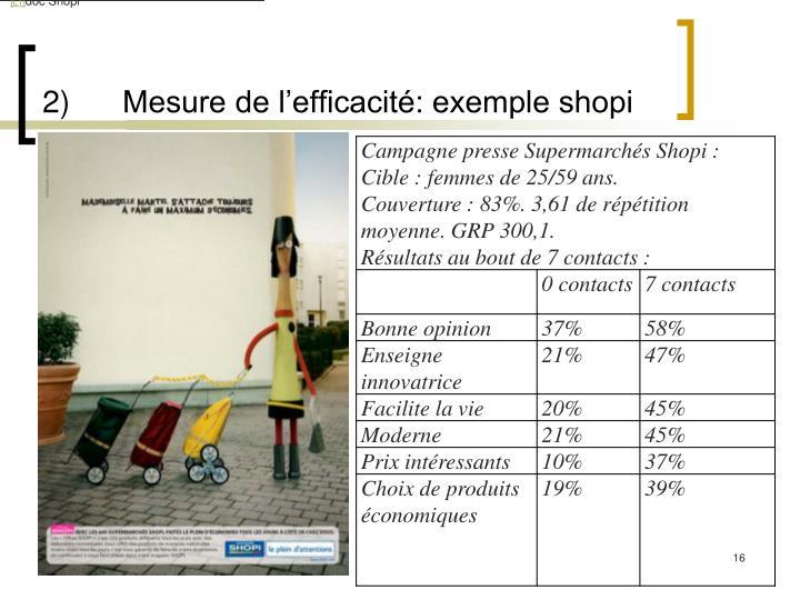 2)Mesure de l'efficacité: exemple shopi
