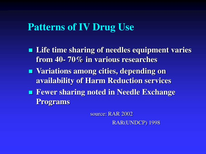 Patterns of IV Drug Use