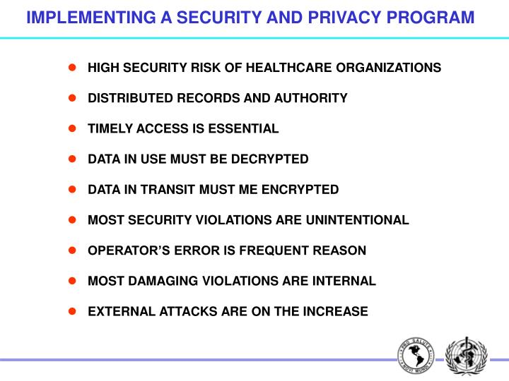 IMPLEMENTING A SECURITY AND PRIVACY PROGRAM