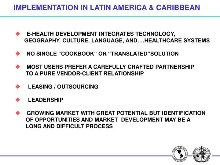 IMPLEMENTATION IN LATIN AMERICA & CARIBBEAN