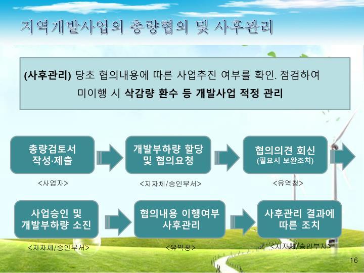 지역개발사업의 총량협의 및 사후관리