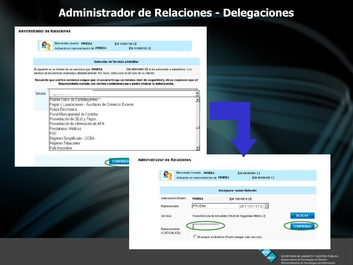 Administrador de Relaciones - Delegaciones