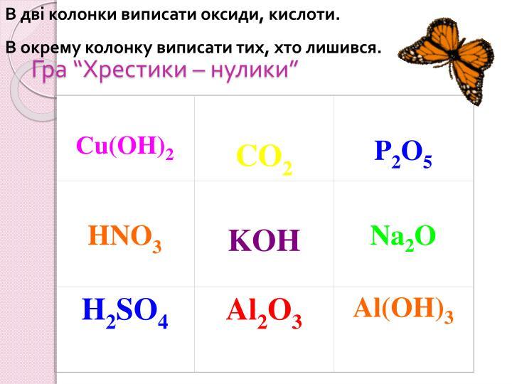 В дві колонки виписати оксиди, кислоти.