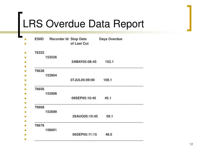 LRS Overdue Data Report