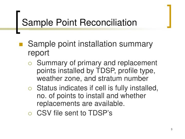 Sample point reconciliation
