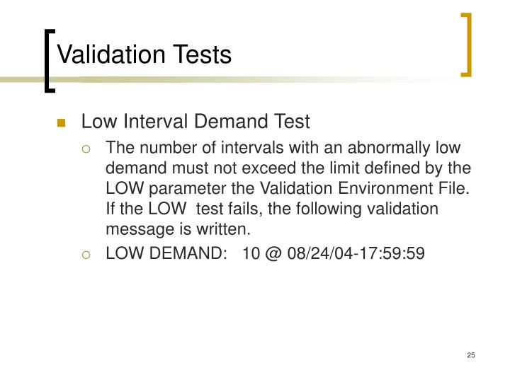Validation Tests