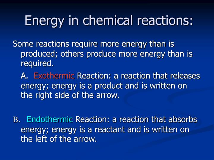 Energy in chemical reactions: