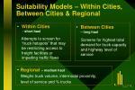 suitability models within cities between cities regional