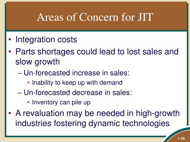 Areas of Concern for JIT