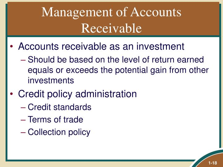 Management of Accounts Receivable