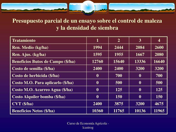 Presupuesto parcial de un ensayo sobre el control de maleza y la densidad de siembra