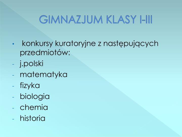 GIMNAZJUM KLASY I-III