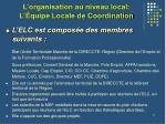 l organisation au niveau local l quipe locale de coordination1