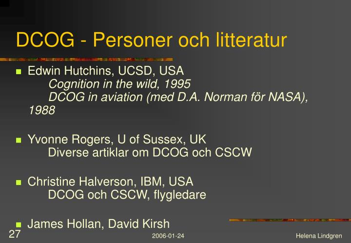 DCOG - Personer och litteratur