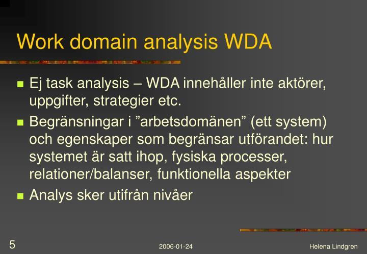 Work domain analysis WDA