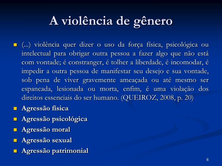 A violência de gênero