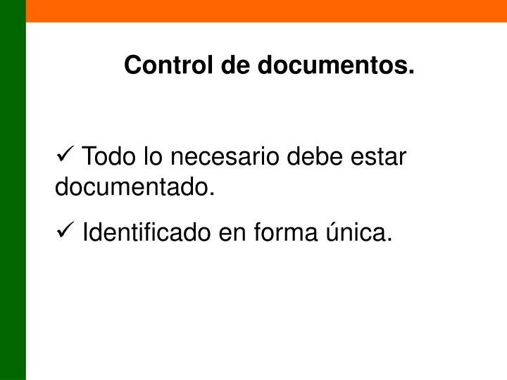Control de documentos.